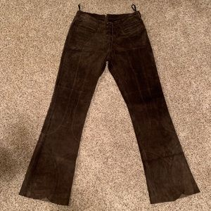 Bebe brown suede bootcut pants size 10